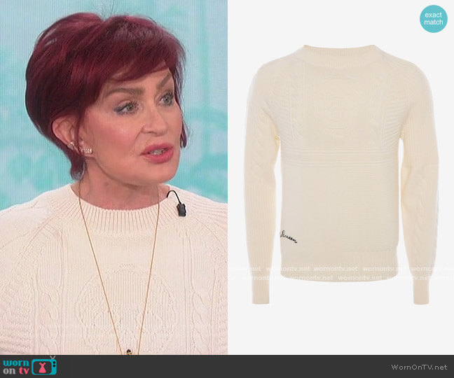 Classic Patchwork Skull Sweater by Alexander McQueen worn by Sharon Osbourne  on The Talk