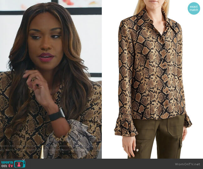Snake-print silk crepe de chine shirt by Michael Michael Kors worn by Rachel Audubon (Michelle Bathe) on All Rise