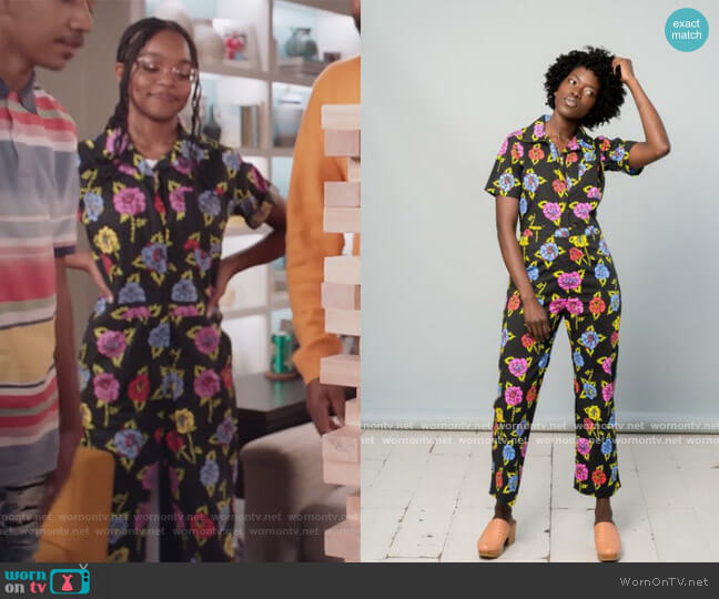 Coveralls Roses by Nooworks worn by Diane Johnson (Marsai Martin) on Blackish