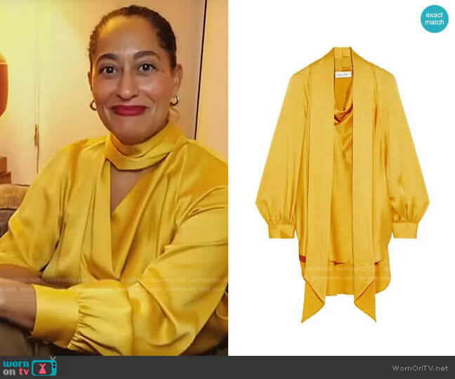 Oscar de la Renta Tie-neck draped satin-crepe blouse worn by Tracee Ellis Ross on CBS This Morning