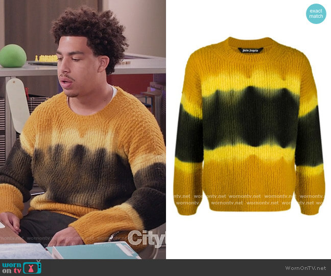 Tie Dye Knitted Jumper by Palm Angels worn by Andre Johnson Jr (Marcus Scribner) on Blackish