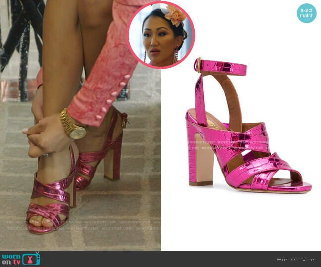 Metallic Cross Strap Sandals by Paris Texas worn by Tiffany Moon  on The Real Housewives of Dallas