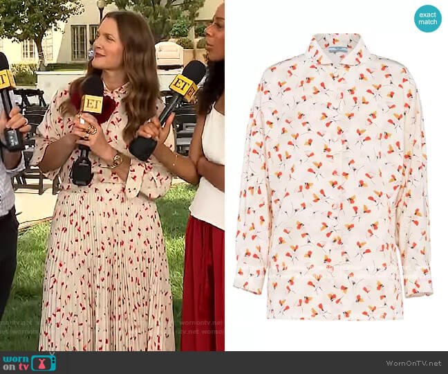 Floral-print Buttoned Shirt by Prada worn by Drew Barrymore  on The Drew Barrymore Show