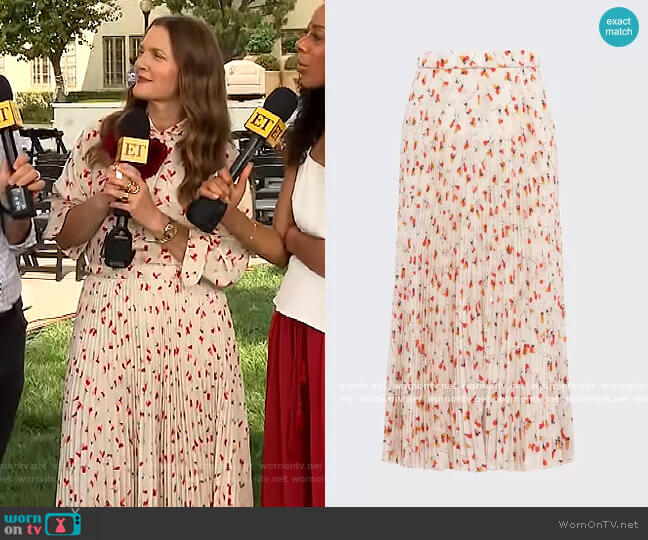 Printed Crepe de Chine Skirt by Prada worn by Drew Barrymore  on The Drew Barrymore Show