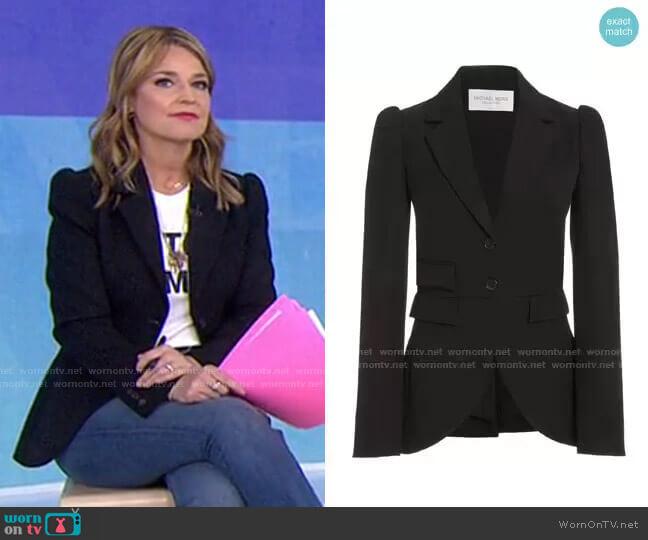 Puffed-Sleeve Gabardine Blazer by Michael Kors worn by Savannah Guthrie  on Today