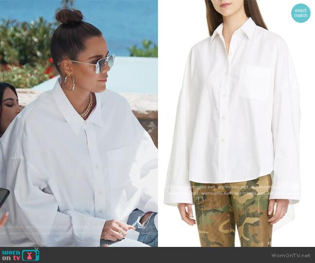 Oversized Poplin Shirt by R13 worn by Khloe Kardashian  on Keeping Up with the Kardashians