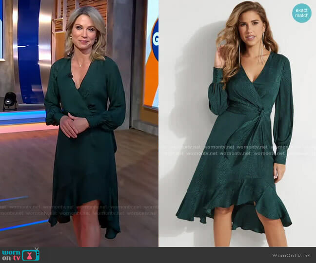Raelana Snakeskin Surplice Dress by Guess worn by Amy Robach  on Good Morning America