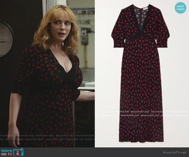 Gemma Lace-Trimmed Floral Crepe Midi Dress by Rixo worn by Beth Boland (Christina Hendricks) on Good Girls
