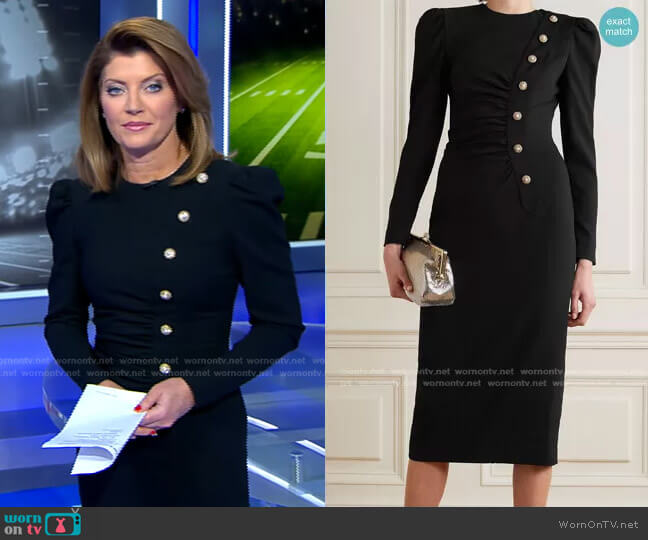 Ruched Embellished Wool-Blend Crepe Midi Dress by Alessandra Rich worn by Norah O'Donnell  on CBS Evening News