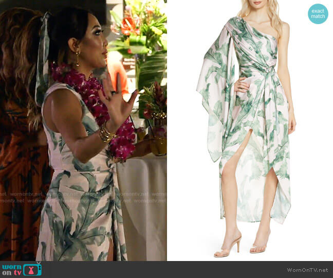Caspian One-Shoulder High/Low Cocktail Dress by Significant Other worn by Tiffany Moon  on The Real Housewives of Dallas