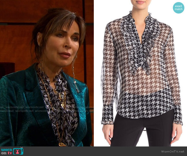 Samine Houndstooth Top by Equipment worn by Kate Roberts (Lauren Koslow) on Days of our Lives