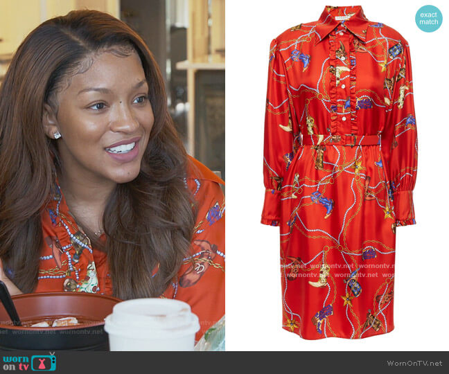 Bootsy belted ruffle-trimmed printed silk-twill shirt dress by Sandro