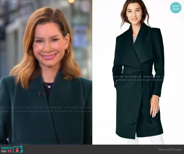 Slick Wool Blend Wrap Coat by Cole Haan worn by Rebecca Jarvis  on Good Morning America