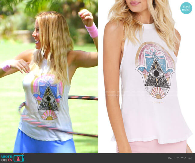 Hamsa Gigi Graphic Muscle Tank by Spiritual Gangster worn by Stephanie Hollman  on The Real Housewives of Dallas