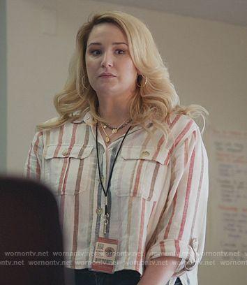 Davia's striped linen blouse on Good Trouble