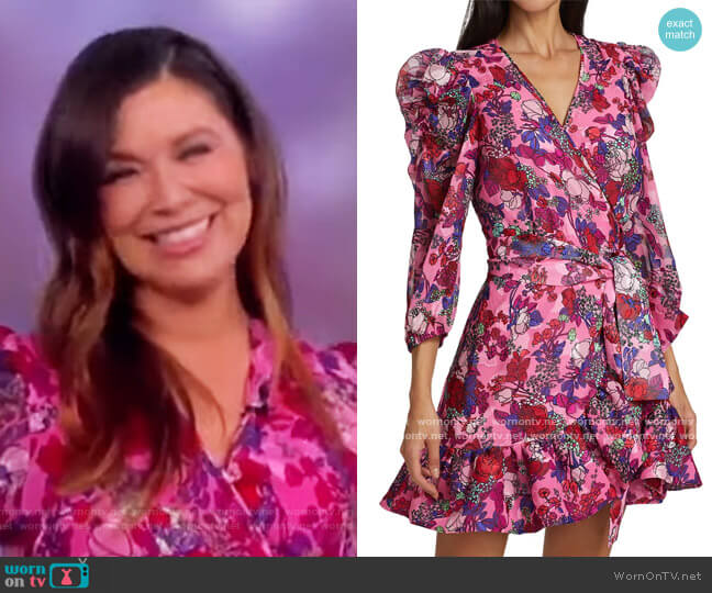 Sasha Floral Puff-Sleeve A-Line Wrap Dress by Tanya Taylor worn by Gretta Monahan on The View