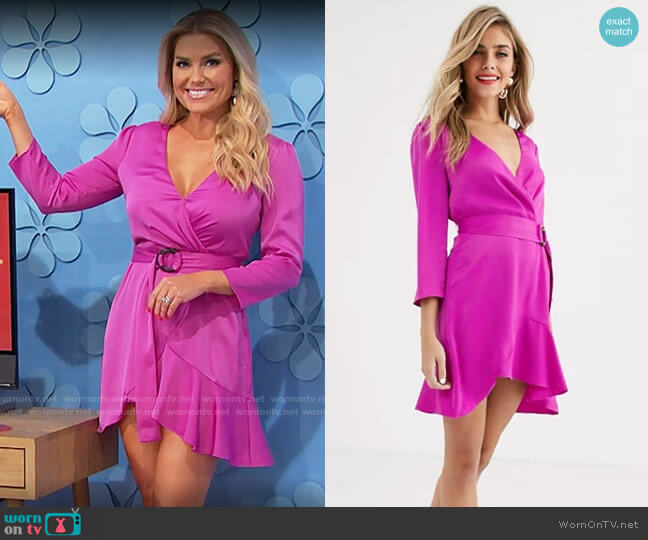 The East Order Tilly ruffle wrap dress worn by Rachel Reynolds  on The Price is Right