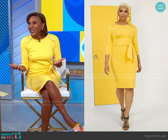 Tie-Front Button-Accent Ponte Dress by New York & Company worn by Robin Roberts  on Good Morning America