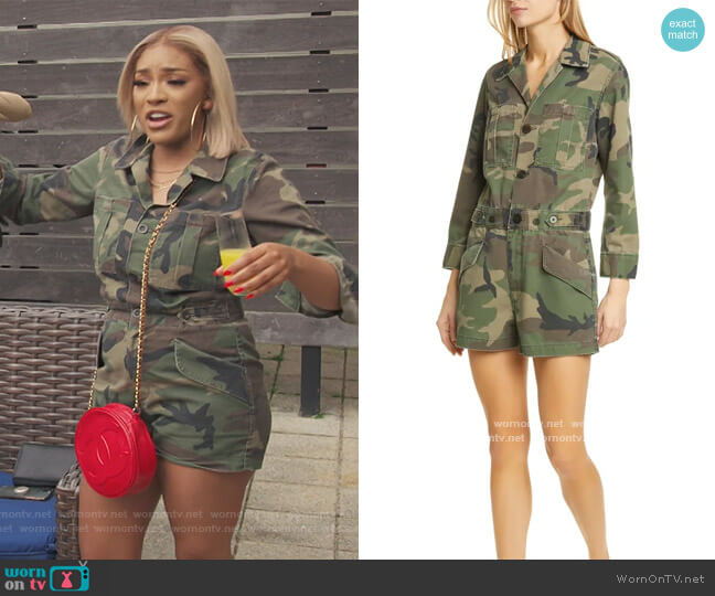 Portia Camo Romper by Trave worn by Drew Sidora  on The Real Housewives of Atlanta