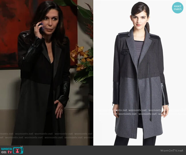 Mixed Media Military Coat by Trouve worn by Anna Devane (Finola Hughes) on General Hospital