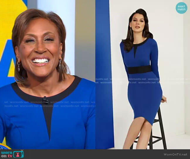 Two-Toned Sheath Ponte Dress by New York & Company worn by Robin Roberts  on Good Morning America