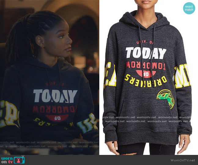 Oversized Pullover Hoodie by University of Today Dreamers of Tomorrow worn by Skylar Forster (Halle Bailey) on Grown-ish
