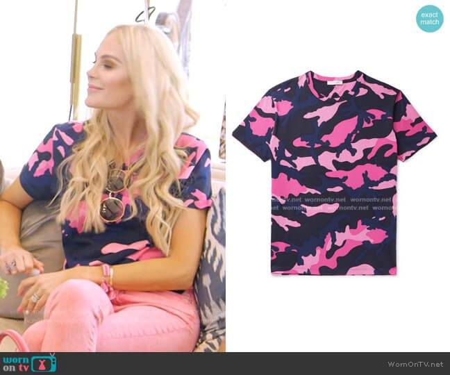 Camouflage-Print T-shirt by Valentino worn by Kameron Westcott  on The Real Housewives of Dallas