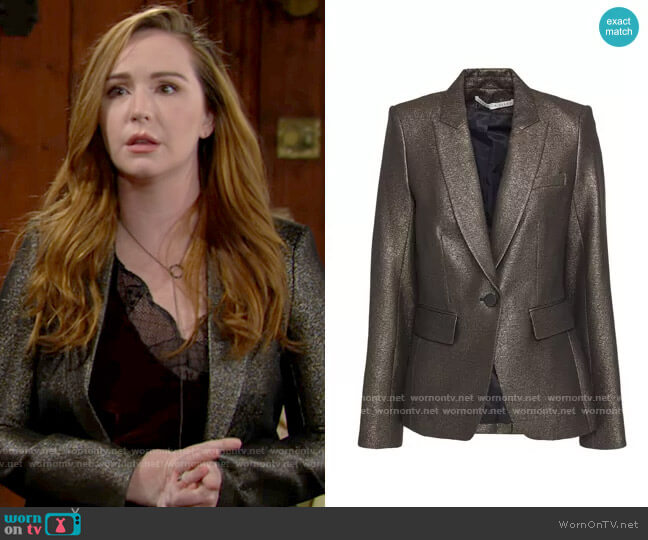 Veronica Beard Cutaway Dickey lamé blazer worn by Mariah Copeland (Camryn Grimes) on The Young & the Restless