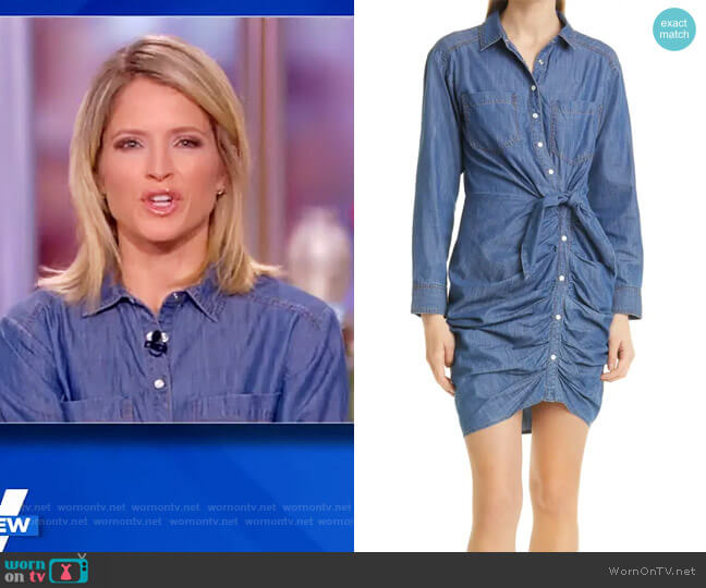 Sierra Ruched Long Sleeve Denim Dress by Veronica Beard worn by Sara Haines  on The View