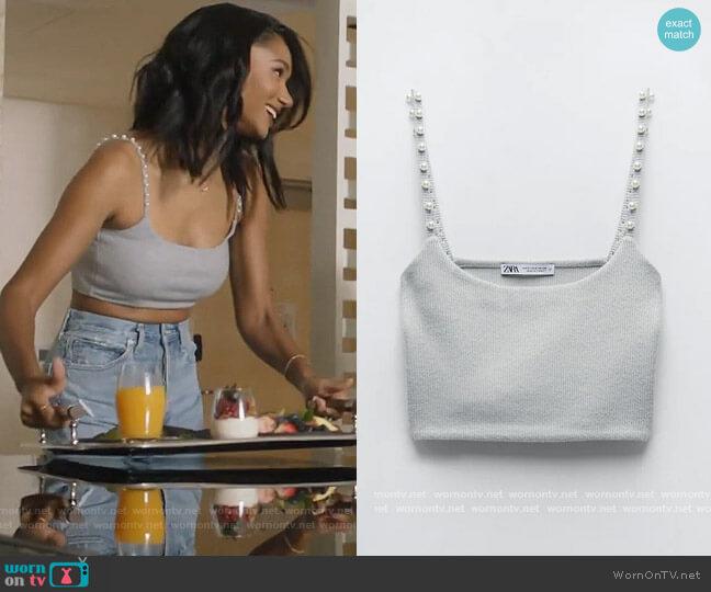 Pearl Trim Crop Top by Zara worn by Layla Keating (Greta Onieogou) on All American