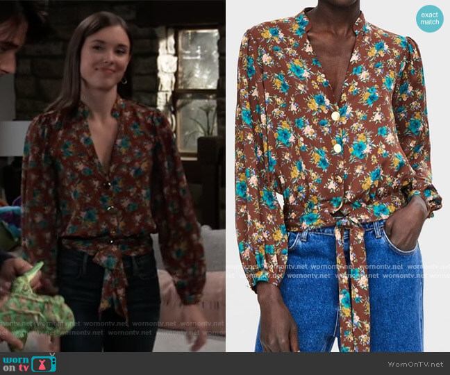 Floral Print Blouse by Zara worn by Willow Tait (Katelyn MacMullen) on General Hospital
