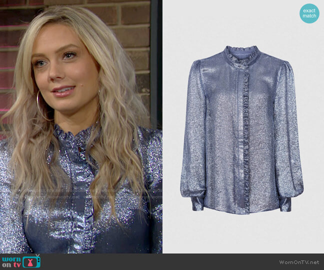 Reiss Liddy Metallic Blouse worn by Abby Newman (Melissa Ordway) on The Young & the Restless