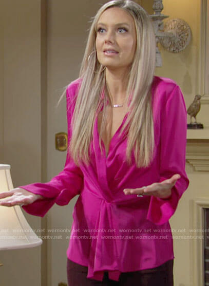 Abby's pink twist front blouse on The Young and the Restless
