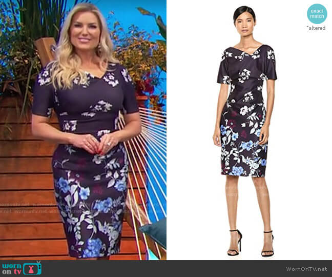 Adrianna Papell Botanical Scuba Draped Sheath worn by Rachel Reynolds  on The Price is Right