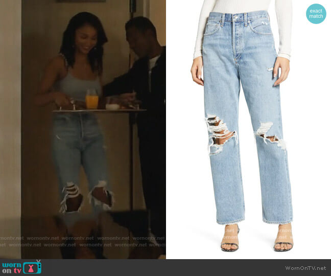90s Ripped Loose Fit Jeans by Agolde worn by Layla Keating (Greta Onieogou) on All American