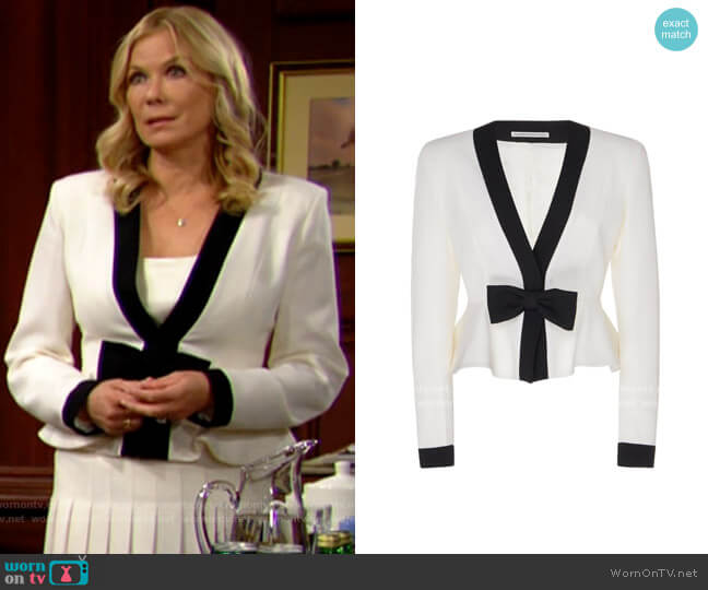 Alessandra Rich Bow-Embellished Two-Tone Peplum Wool Jacket worn by Brooke Logan (Katherine Kelly Lang) on The Bold & the Beautiful