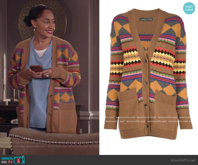 Jacquard Knit Cardigan by Alexa Chung worn by Rainbow Johnson (Tracee Ellis Ross) on Blackish