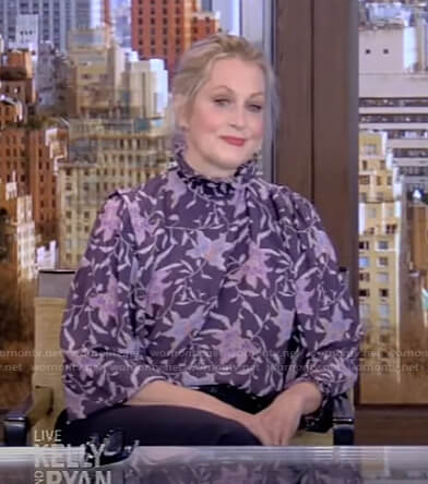 Ali Wentworth's purple floral blouse on Live with Kelly and Ryan