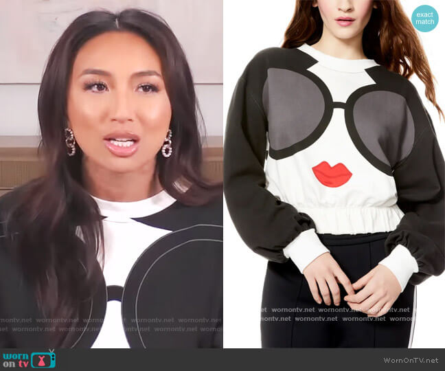 Gaia Graphic Blouson Crop Sweatshirt by Alice + Olivia worn by Jeannie Mai  on The Real