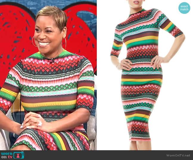 Delora Boho Geo Print Dress by Alcie + Olivia worn by Monique Kelley on E! News