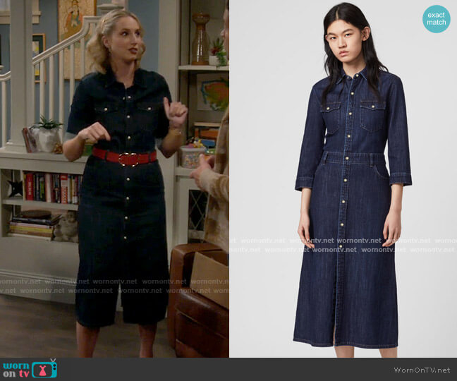 All Saints Polly Denim Dress worn by Mandy Baxter (Molly McCook) on Last Man Standing