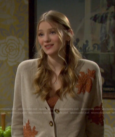 Allie's beige floral embellished cardigan on Days of our Lives