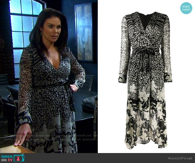 Florence Tempo Leopard and Floral Print Midi Dress by Allsaints worn by Chloe Lane (Nadia Bjorlin) on Days of our Lives