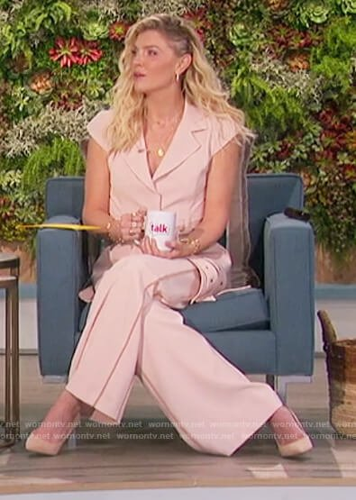 Amanda's beige belted jacket on The Talk