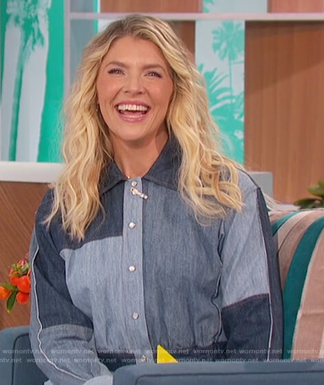 Amanda's patchwork denim dress on The Talk