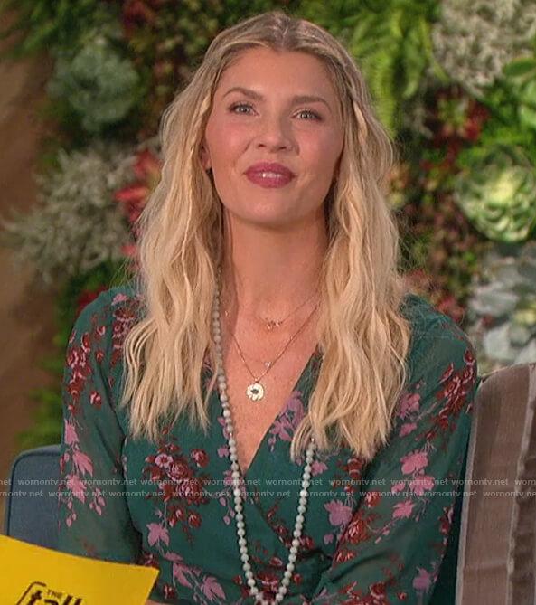 Amanda's green floral wrap dress on The Talk