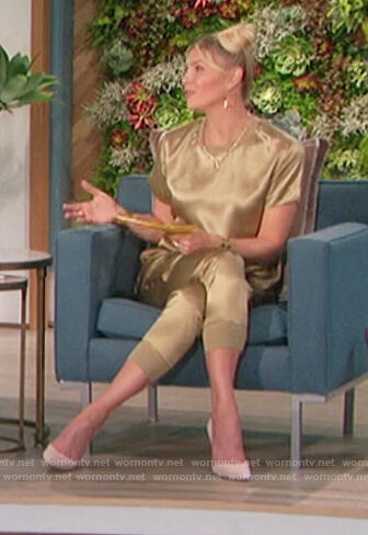 Amanda's gold satin tee and pants on The Talk