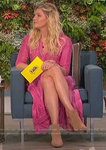 Amanda's pink lace trim dress on The Talk