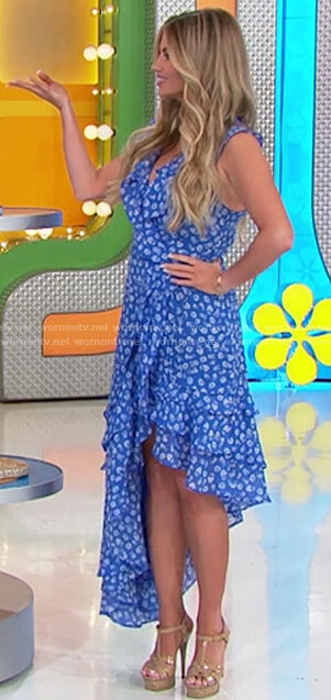 Amber's blue floral ruffled asymmetric dress on The Price is Right