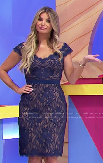 Amber's blue lace dress on The Price is Right